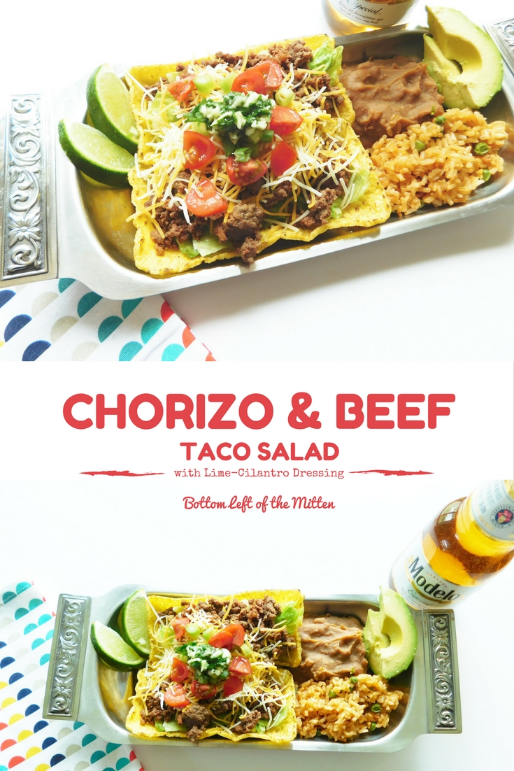 Chorizo & Beef Taco Salad | Bottom Left of the Mitten #tacosalad #cincodemayo #chorizo