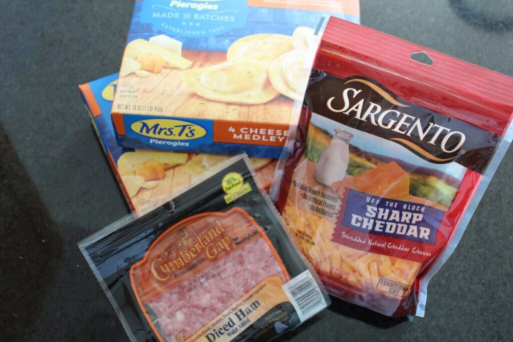 overhead shot of ingredients for pierogi casserole.