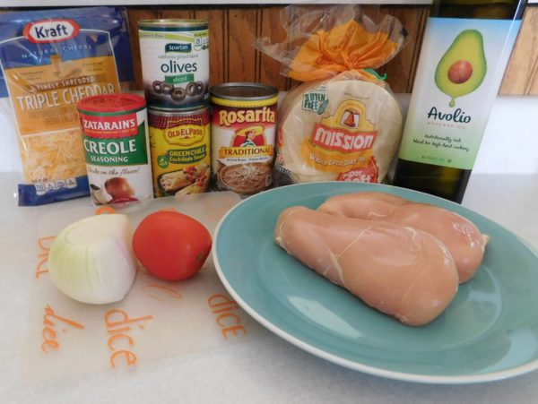 Ingredients for Blackened Chicken Green Chili Enchiladas from Bottom Left of the Mitten