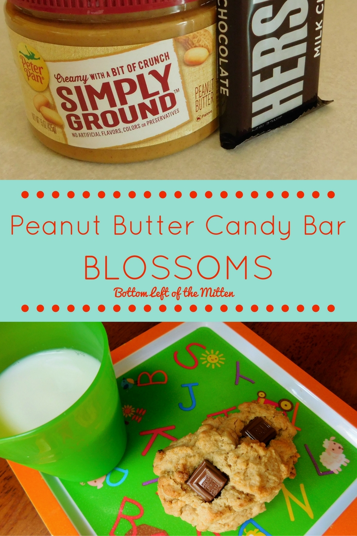 If your craving peanut butter & chocolate try these Peanut Butter Candy Bar Blossoms from Bottom Left of the Mitten