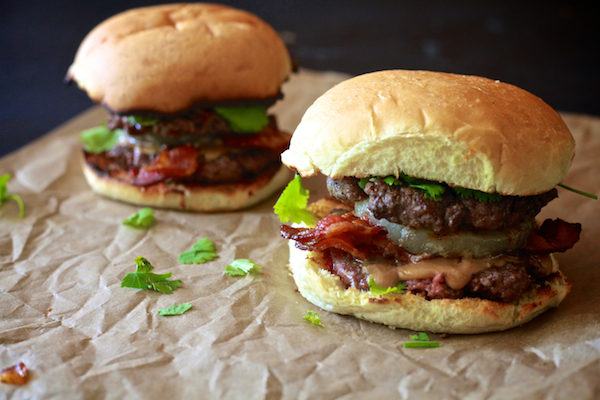 Thai Peanut Butter & Bacon Burger from The Noshery