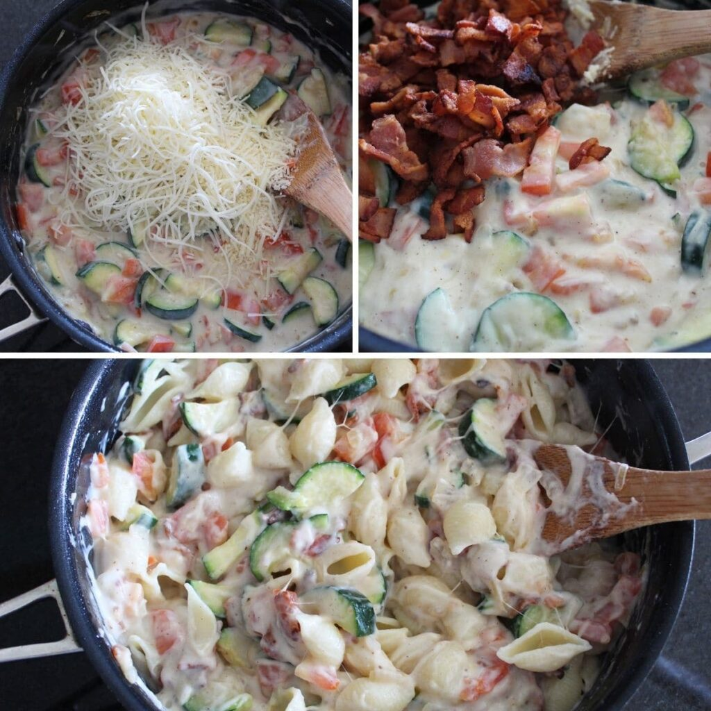 collage of three images for making bacon shells and cheese pasta.