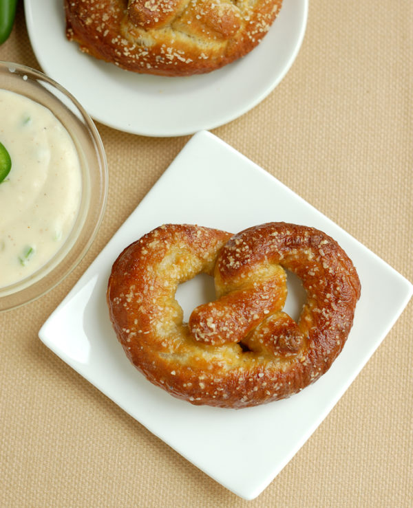 Beer Infused Bavarian Soft Pretzels with Jalapeno Cheddar Dip from Baking Sense