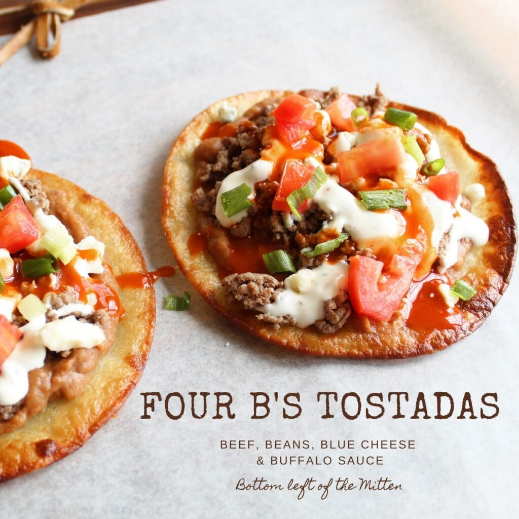 side shot of tostadas with ground beef and beans with image text