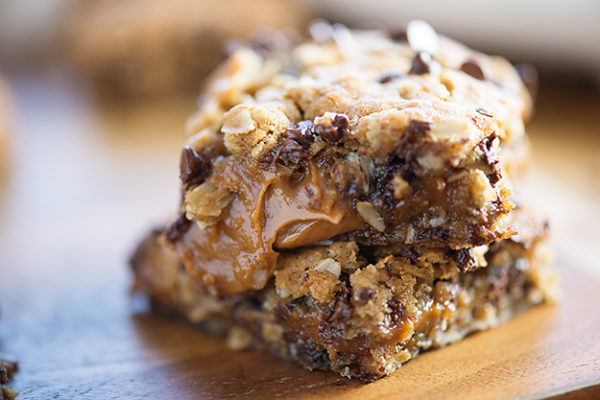 Peanut Butter Caramel Oatmeal Cookie Bars from Buns In My Oven