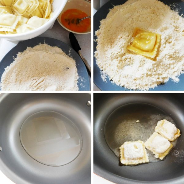Steps and ingredients to make St. Louis Ravioli or Fried Ravioli.