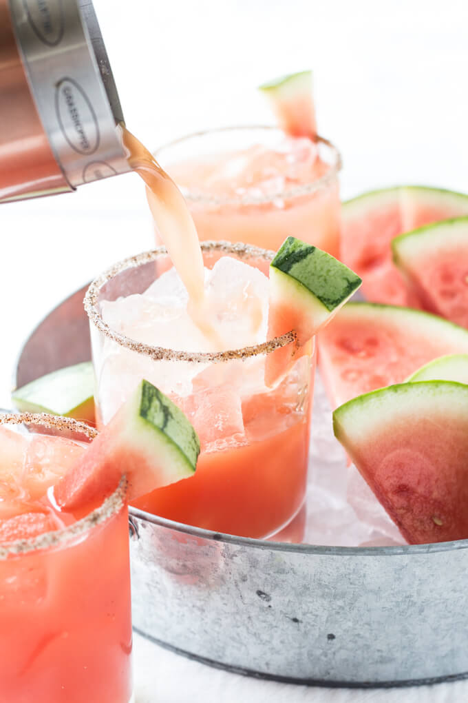 Salted Watermelon Margaritas from Wicked Spatula | 'Celebrate with 8' for National Margarita Day | Bottom Left of the Mitten