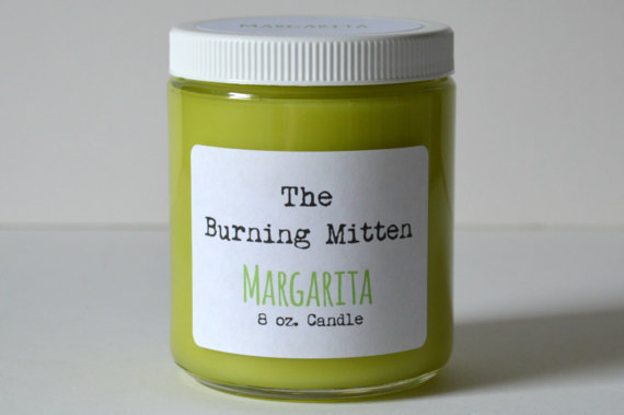 The Burning Mitten Margarita Candle | 'Celebrate with 8' for National Margarita Day | Bottom Left of the Mitten
