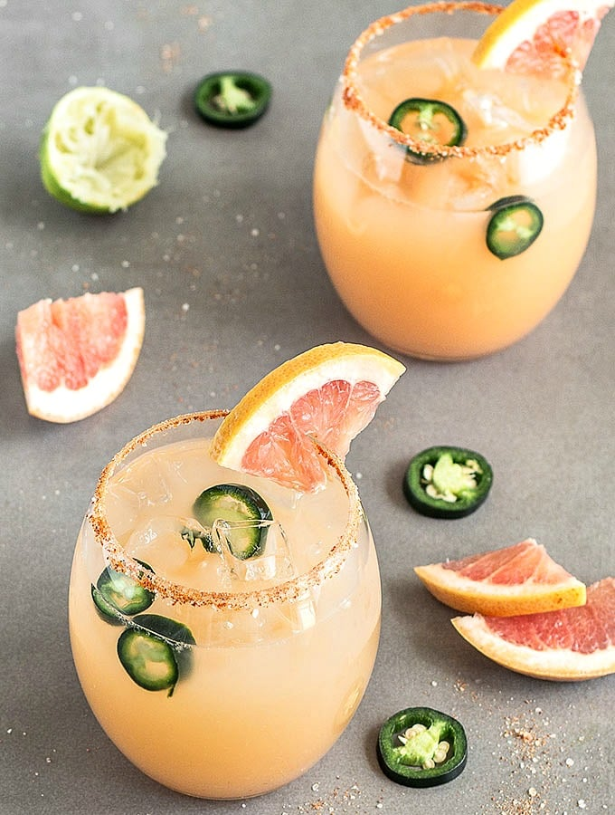 Spicy Grapefruit Jalapeño Margarita from As Easy As Apple Pie | 'Celebrate with 8' for National Margarita Day | Bottom Left of the Mitten