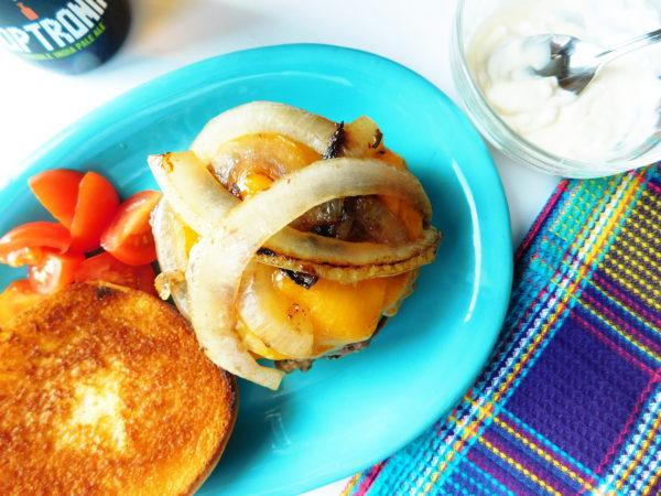 Cast Iron Onion Burgers | Bottom Left of the Mitten