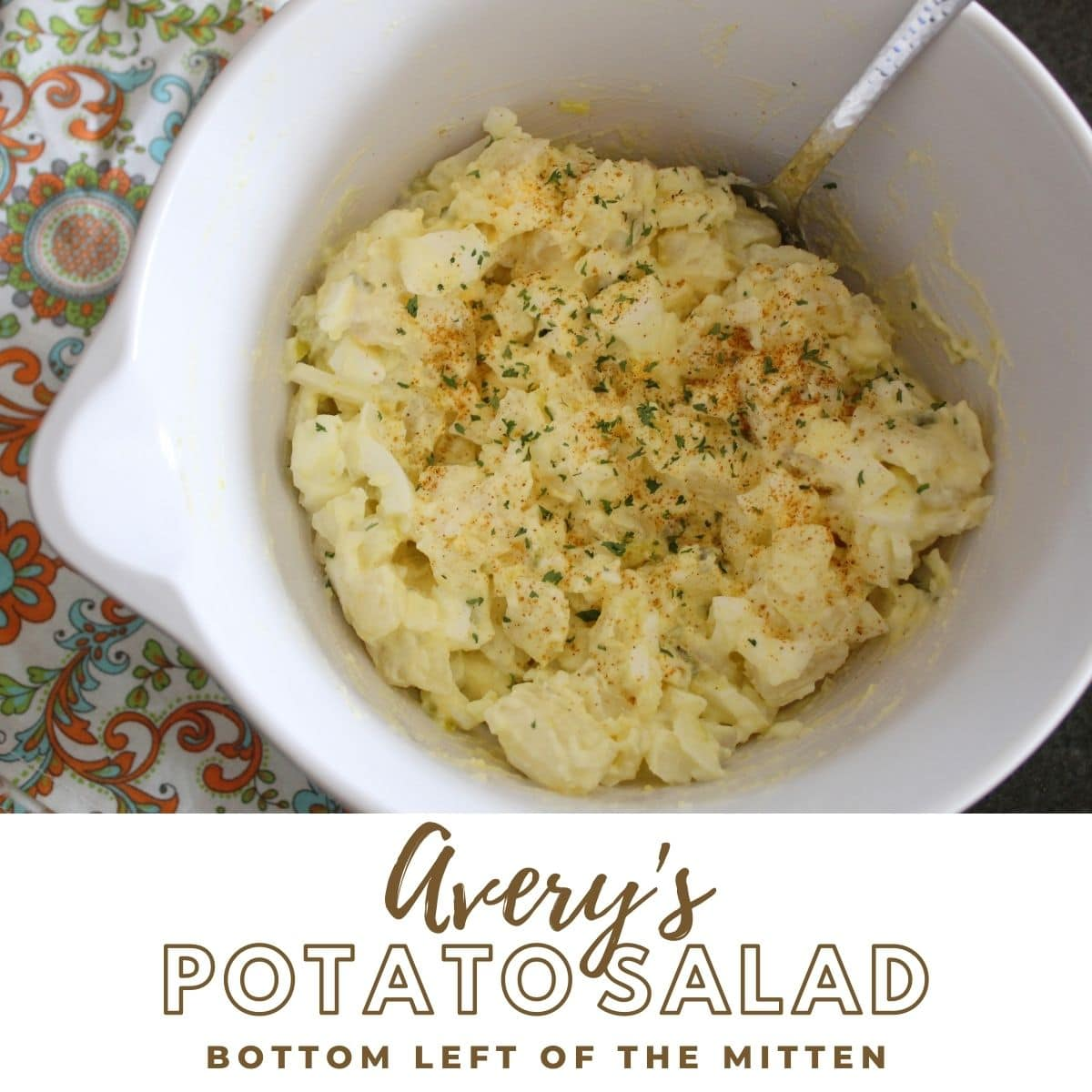 collage of image of potato salad recipe with descriptive text overlay.