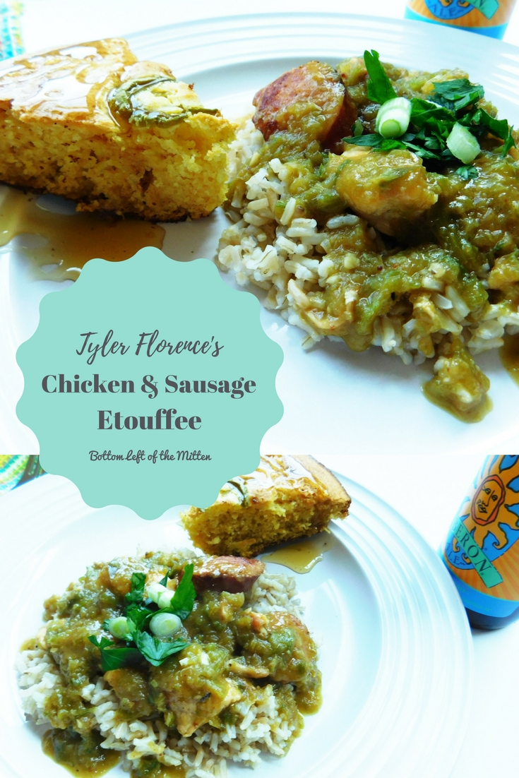 Tyler Florence's Chicken & Sausage Etouffee   Bottom Left of the Mitten #etouffee #chickenandsausage #chicken