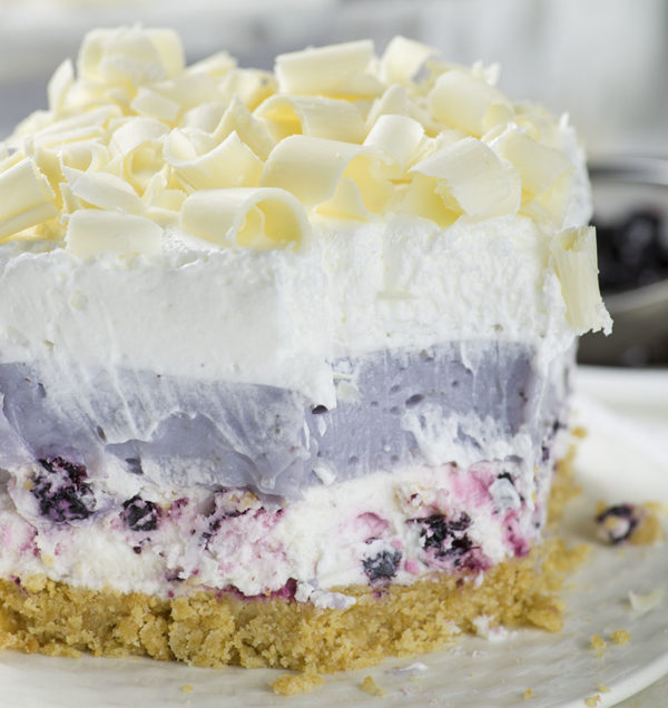 White Chocolate Blueberry Lasagna from Oh My Goodness Chocolate Desserts | Bottom Left of the Mitten 'Celebrate with 8' for Blueberry Month