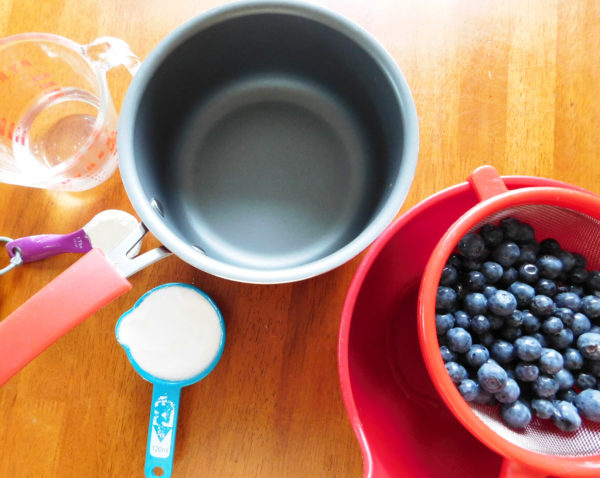Ingredients and directions for Red White & Blue No Bake Cheesecake.