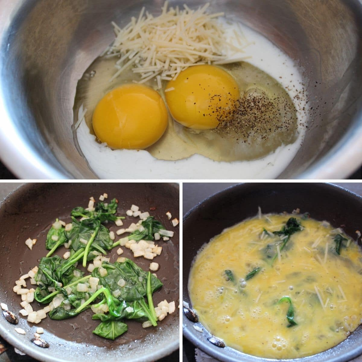 collage of steps for making a ham and spinach breakfast sandwich
