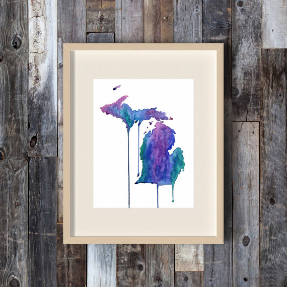 'Michigan Blueberries' print from The Big Lake Etsy shop   Bottom Left of the Mitten 'Celebrate with 8' for Blueberry Month