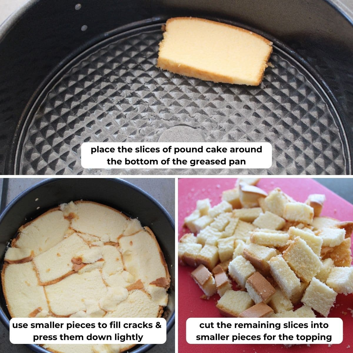 collage of three images for using pound cake as a crust for cheesecake with descriptive text overlay.