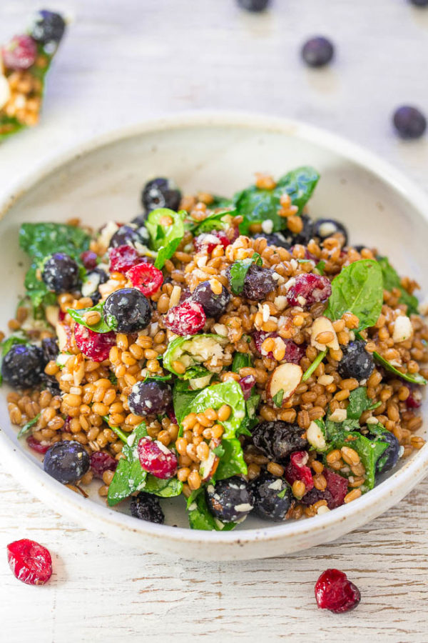 Spinach Blueberry Superfoods Salad from Averie Cooks   Bottom Left of the Mitten 'Celebrate with 8' for Blueberry Month