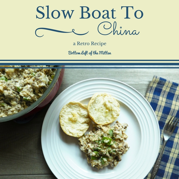 Slow Boat to China on a plate with a bisuits and butter. More Slow Boat to China in a pan off to the side.