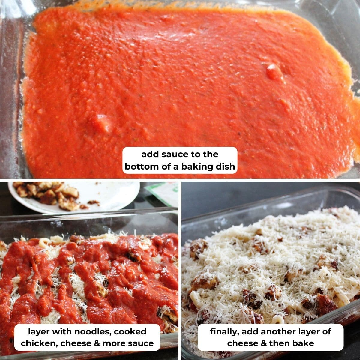collage of three photos for making Chicken Parmesan with descriptive text overlay.