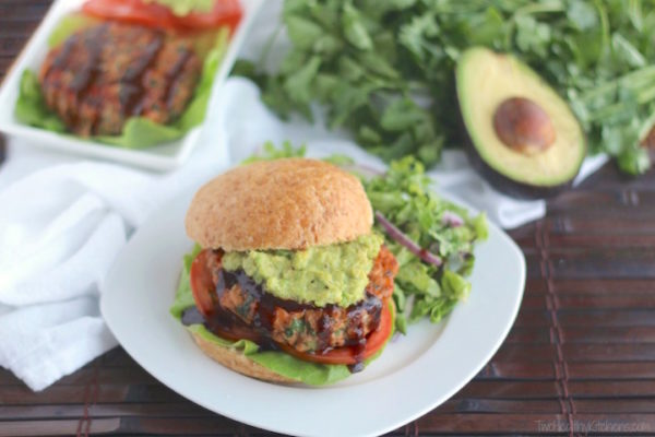 Asian Salmon Burgers with Avocado and Hoisin Sauce from Two Healthy Kitchens| 'Celebrate with 8' Burgers That Aren't Beef | Bottom Left of the Mitten