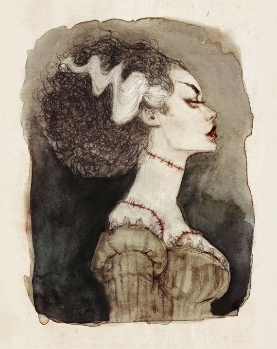 Bride of Frankenstein Illustrated Art Print from AudreyBenjaminsenArt | Halloween Gift Guide | Bottom Left of the Mitten