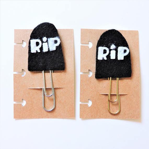 RIP Tombstone Felt Planner Clip from MJsKraze Halloween Gift Guide   Bottom Left of the Mitten