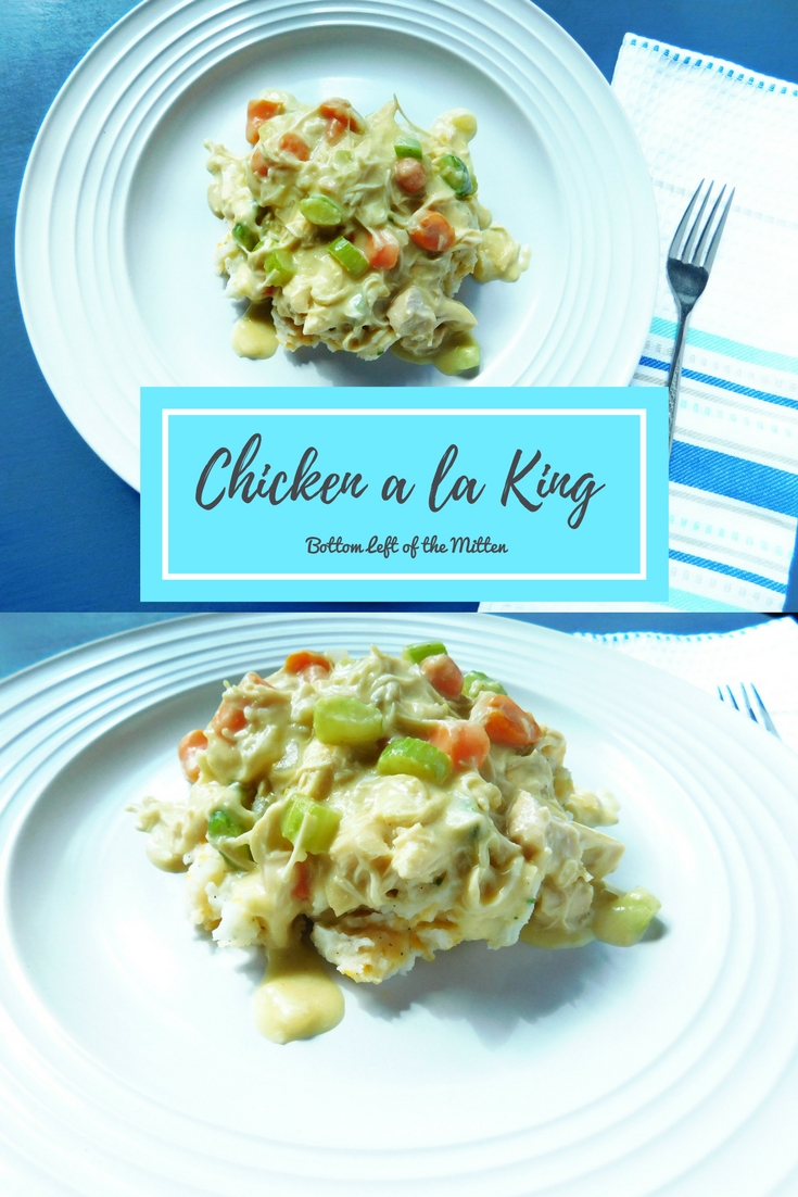 Chicken a la King | Bottom Left of the Mitten #chickenrecipe #comfortfood #chickenalaking