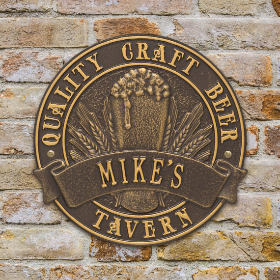 Quality Craft Beer Tavern Personalized Round Plaque from Sand Cast Address Plaques | Craft Beer Lovers Gift Guide | Bottom Left of the Mitten