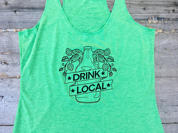 Drink Local Embroidered Tank Top from New Vintage Embroidery | Craft Beer Lovers Gift Guide | Bottom Left of the Mitten