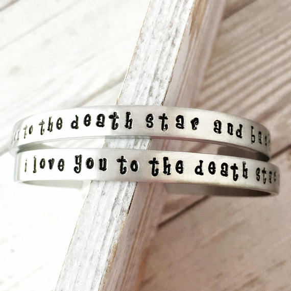 i love you to the death star and back cuff bracelet from JustJaynes | Star Wars Gift Guide | Bottom Left of the Mitten