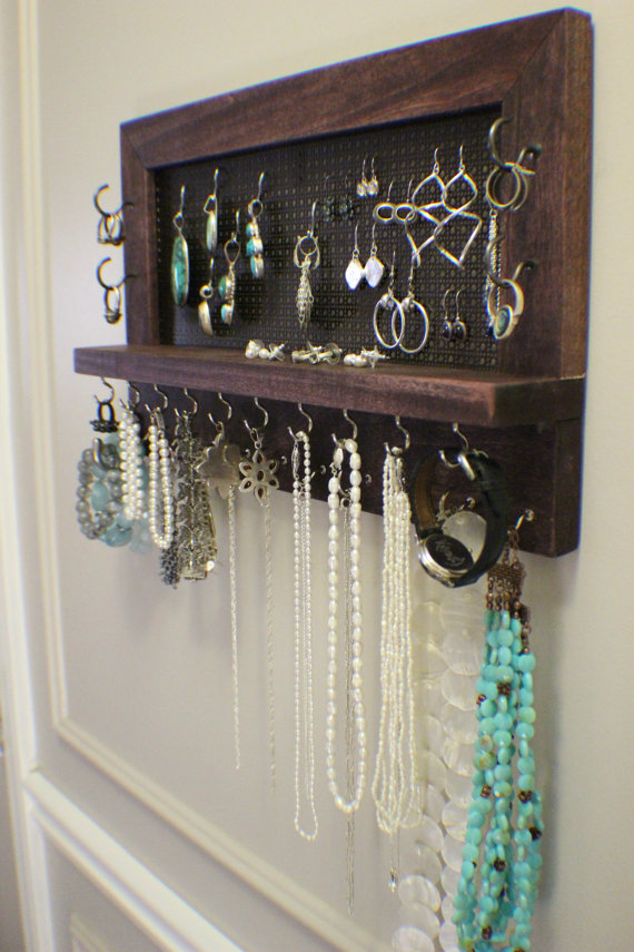 Rustic Dark Cherry Stained Wall Mounted Jewelry Organizer from TheKnottyShelf | 'Celebrate with 8' for Get Organized Month | Bottom Left of the Mitten