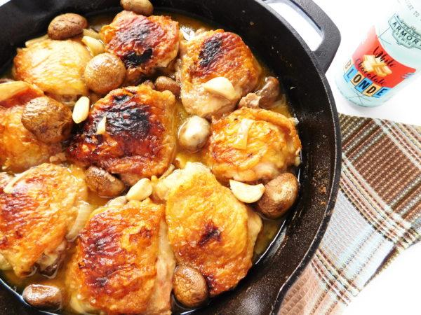 Skillet Chicken, Mushrooms & Garlic. made in a cast iron pan.