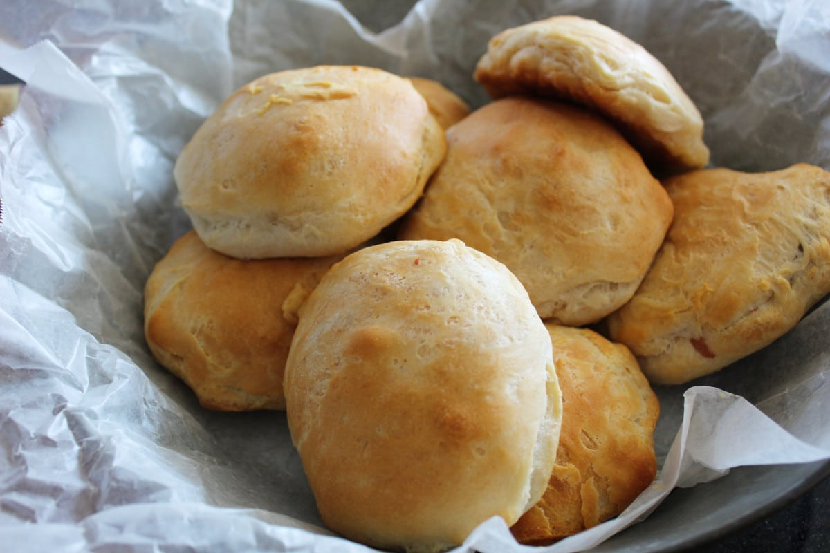 overhead shot of filled biscuit recipe in a basket.