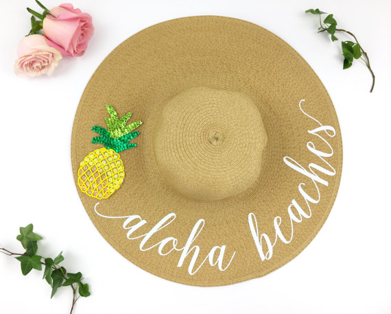 'Aloha Beaches' sun hat from Shades of Pink Boutique | Bottom Left of the Mitten