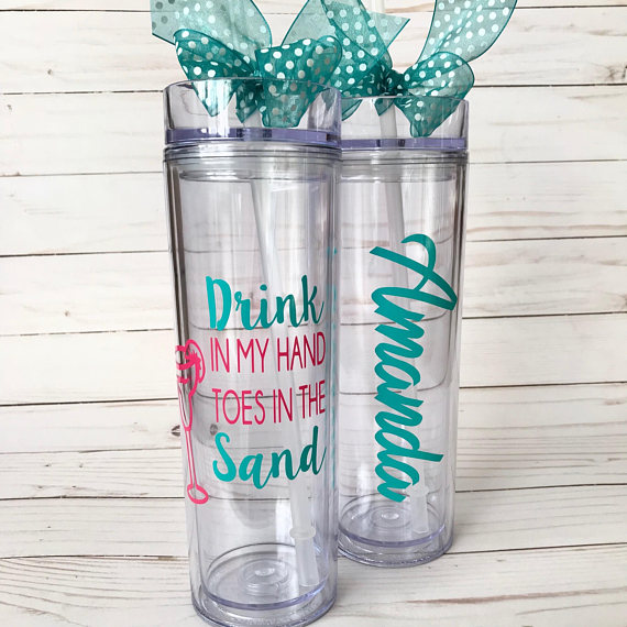Beach Tumbler from Annie Girl Designs | Spring Break Must Haves| Bottom Left of the Mitten