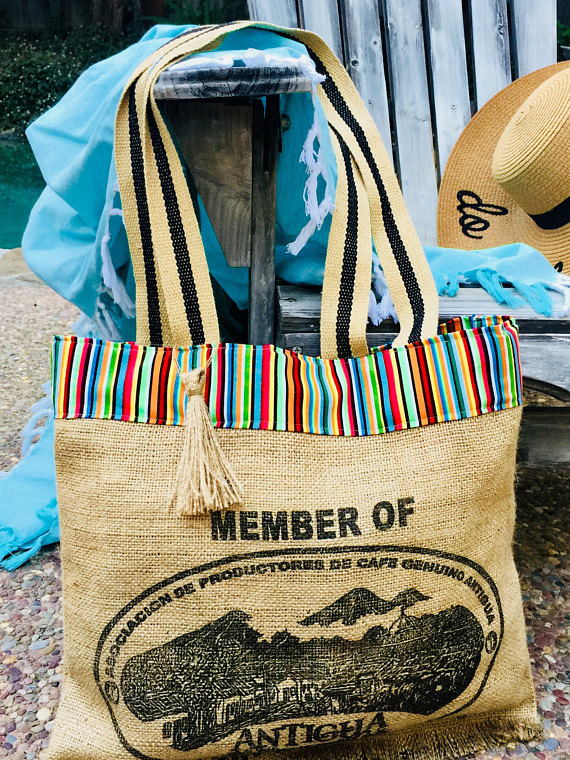 Burlap Beach Tote from MagnaniHoldingCo. | Spring Break Must Haves| Bottom Left of the Mitten