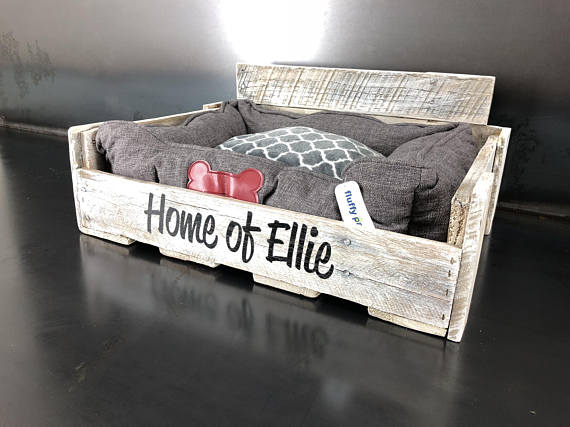 Personalized Pallet Dog Bed from Crosswoodworks | Celebrate with 8 for National Pet Day | Bottom Left of the Mitten