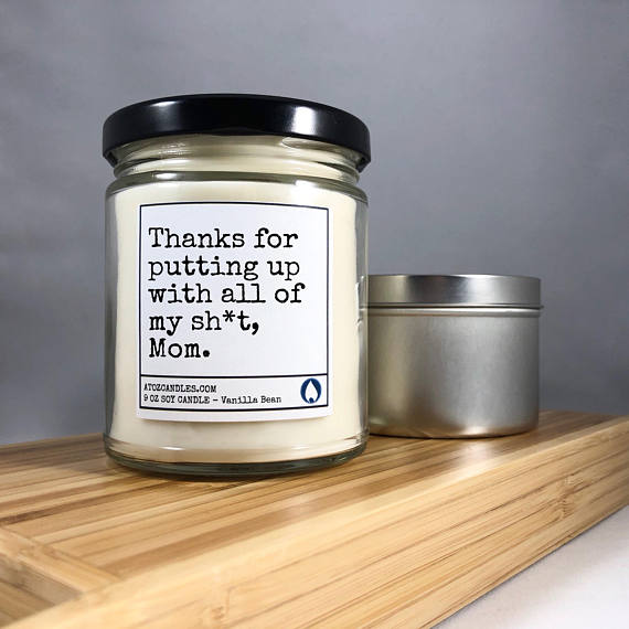'Thank you Mom' candle from AtoZCandles | Mother's Day GIft Guide 2018 | Bottom Left of the Mitten