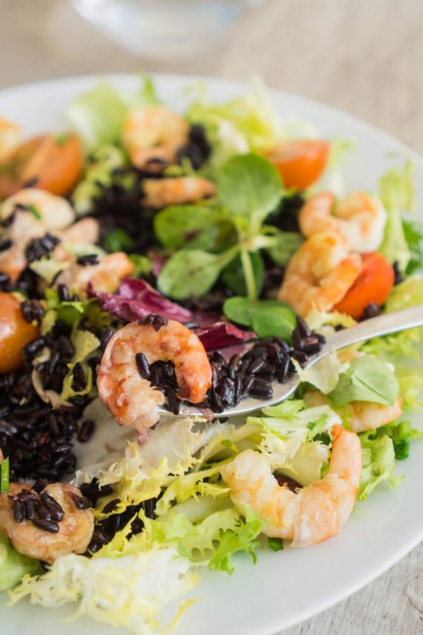 Black Rice and Shrimps Salad from The Cookware Geek | Celebrate with 8 National Salad Month | Bottom Left of the Mitten