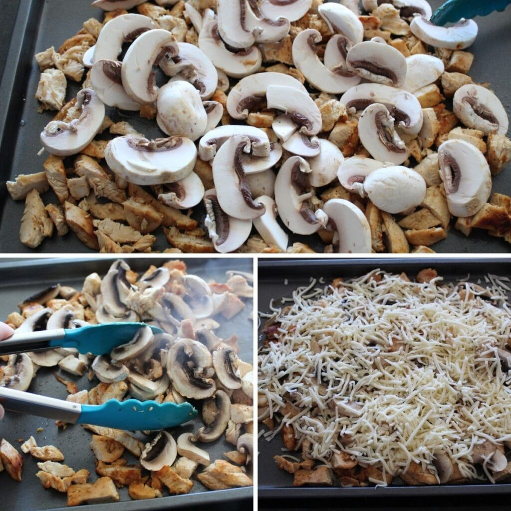 collage of three images. one of a pan of cooked chicken and sliced mushrooms. one of a pair of tongs picking up chicken and mushrooms. one of a pan of chicken and mushrooms covered with shredded cheese.
