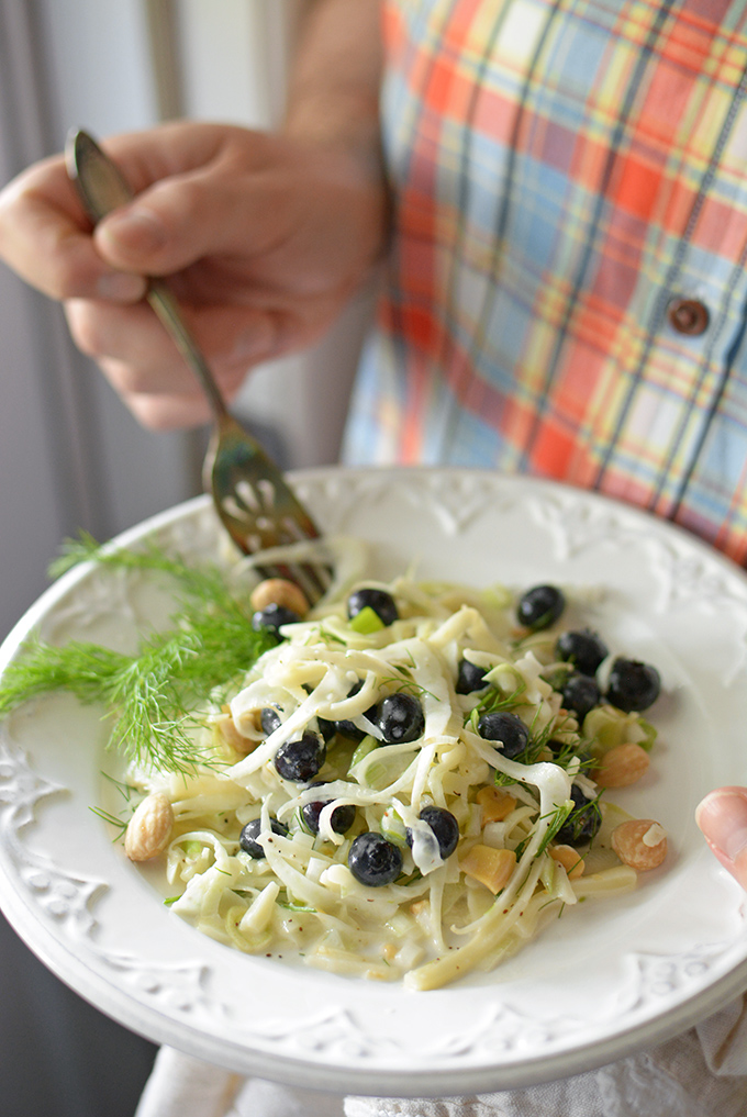 Fennel, Kohlrabi, and Blueberry Salad from Simple Seasonal | Celebrate with 8 National Salad Month | Bottom Left of the Mitten