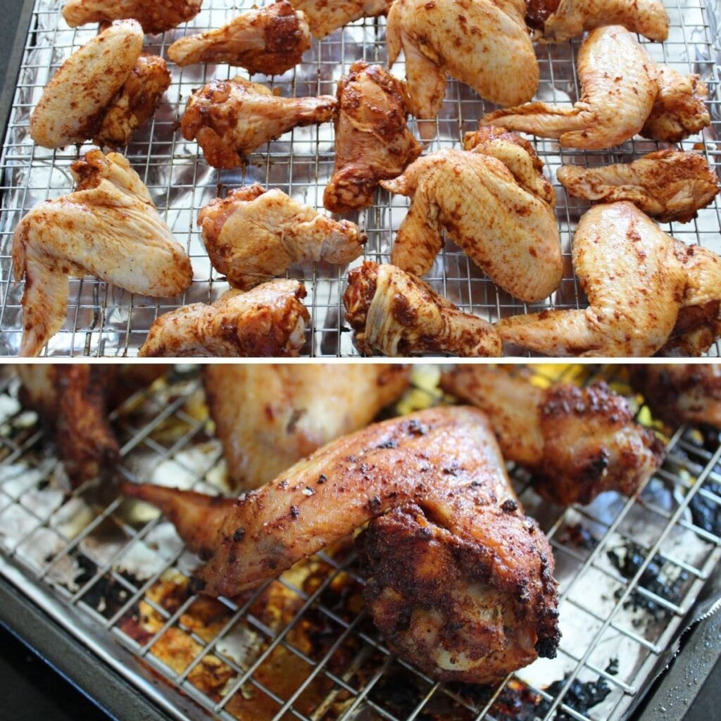 collage image of chicken wings before and after they have been in the oven.