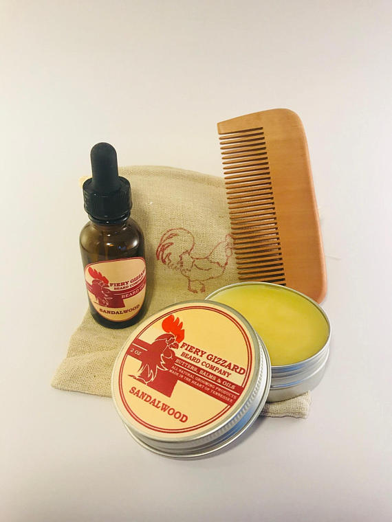Beard Care Kit from FieryGizzardBeardCo | Fathers Day Gift Guide | Bottom Left of the Mitten