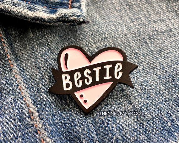 Best Friend Enamel Pin from HennelPaperCo | Celebrate with 8 for Friendship Day | Bottom Left of the Mitten