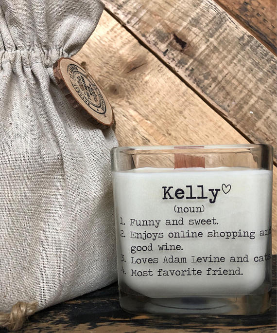 Personalized candle from TheShabbyWick | Celebrate with 8 for Friendship Day | Bottom Left of the Mitten