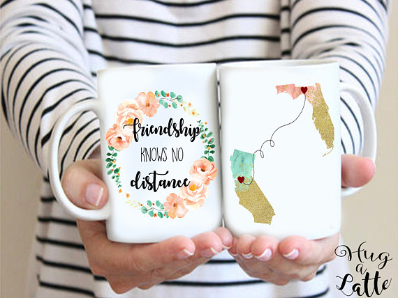 Friendship Knows No Distance Mug from Hugalatteboutique | Celebrate with 8 for Friendship Day | Bottom Left of the Mitten