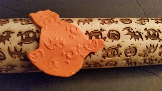 Halloween Jack head creepy Personalized Rolling Pin from EngravedOriginals | Halloween 2018 | Bottom Left of the Mitten