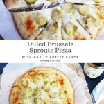 Two shots of a Dilled Brussels Sprouts Pizza