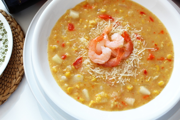 Shrimp and Corn Chowder in a bowl.